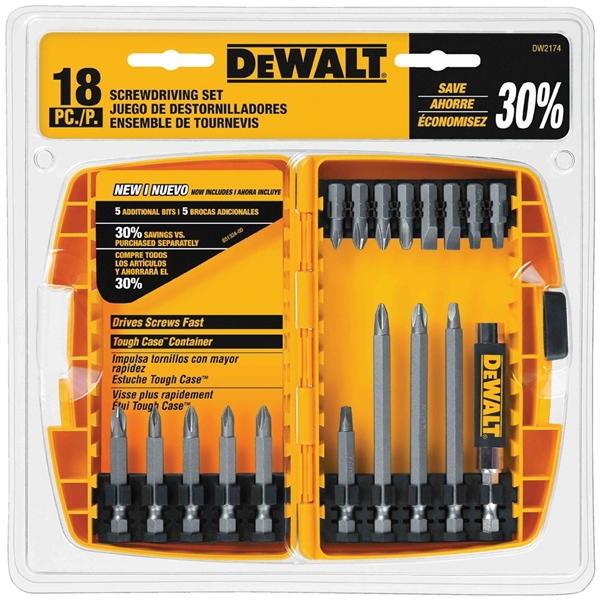 Picture of DeWALT DW2174 Screwdriver Bit Set, 18 -Piece, Steel