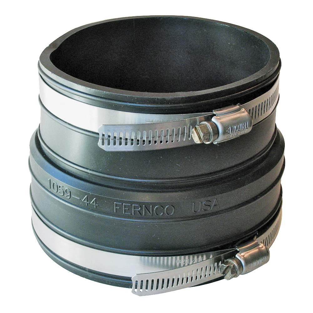 Picture of FERNCO P1059-44 Flexible Pipe Coupling, 4 in, Socket, PVC, Black, SCH 40 Schedule, 4.3 psi Pressure