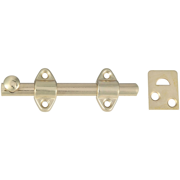 Picture of National Hardware N236-342 Surface Bolt, 7/16 in Bolt Head, Steel, Satin Brass