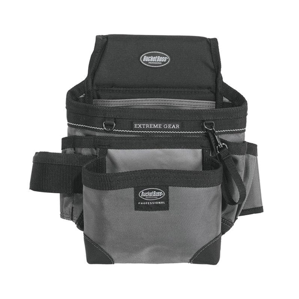 Picture of Bucket Boss 55200 Mullet Buster Carpenter's Pouch, 14 -Pocket, Poly Fabric, Black/Gray, 10 in W, 13 in H, 4 in D