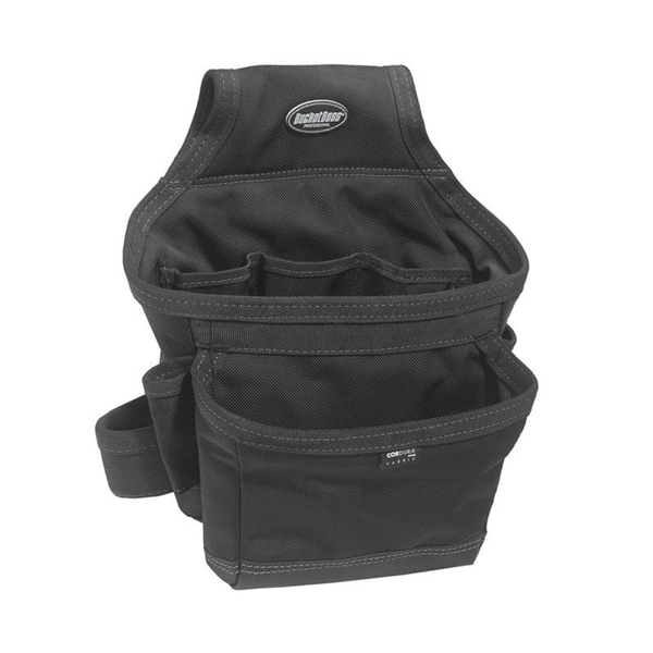 Picture of Bucket Boss 57200 Ballistic Carpenter's Pouch, 12 -Pocket, Fabric, Black, 12 in W, 12 in H, 7 in D