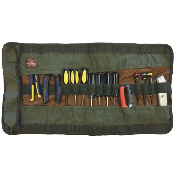 Picture of Bucket Boss Original 70004 Tool Roll Bag, 26 in W, 14-1/2 in H, 25 -Pocket, Canvas, Brown