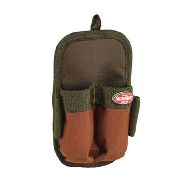 Picture of Bucket Boss 54180 Double-Barrel Sheath, 2 -Pocket, Poly Ripstop Fabric, Brown/Green, 4 in W, 7 in H, 1-1/2 in D