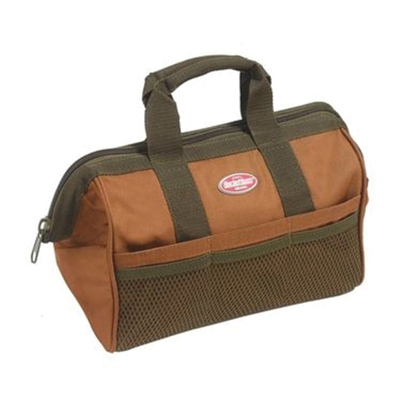 Picture of Bucket Boss Professional 60013 Gatemouth Tool Bag, 13 in W, 8 in D, 10 in H, 6 -Pocket, Poly Ripstop Fabric, Brown