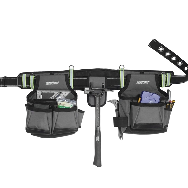 Picture of Bucket Boss Professional 55105-HV HV Contractor's Rig, 52 in Waist, Poly Fabric, Sliver, 29 -Pocket