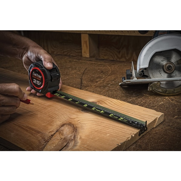 Picture of Crescent Lufkin L1205CB Tape Measure, 25 ft L Blade, 1-3/16 in W Blade, Steel Blade, Rubber Case