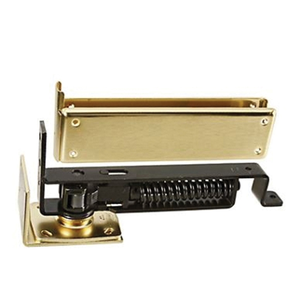 Picture of National Hardware N126-706 Floor/Jamb Hinge, Steel, Satin Brass, Removable Pin, Wall Mounting, 90 lb
