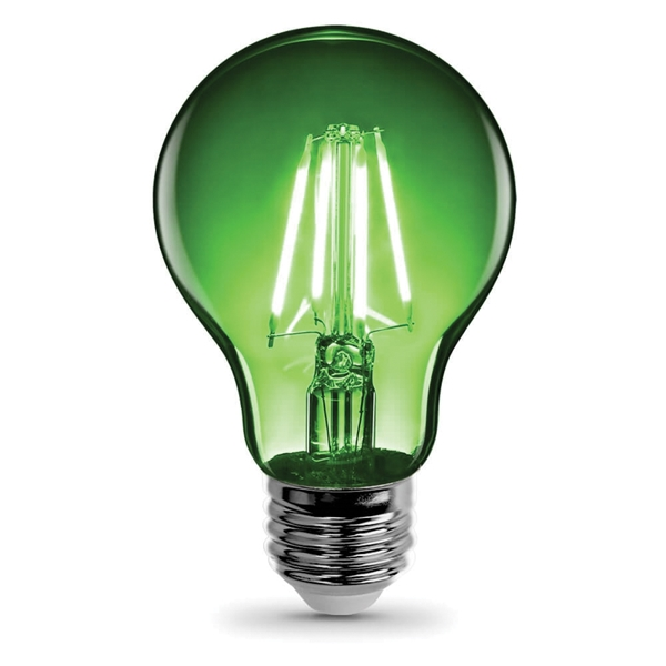 Picture of Feit Electric A19/TG/LED LED Bulb, 4.5 W, E26 Medium Lamp Base, A19 Lamp, Transparent Green Light