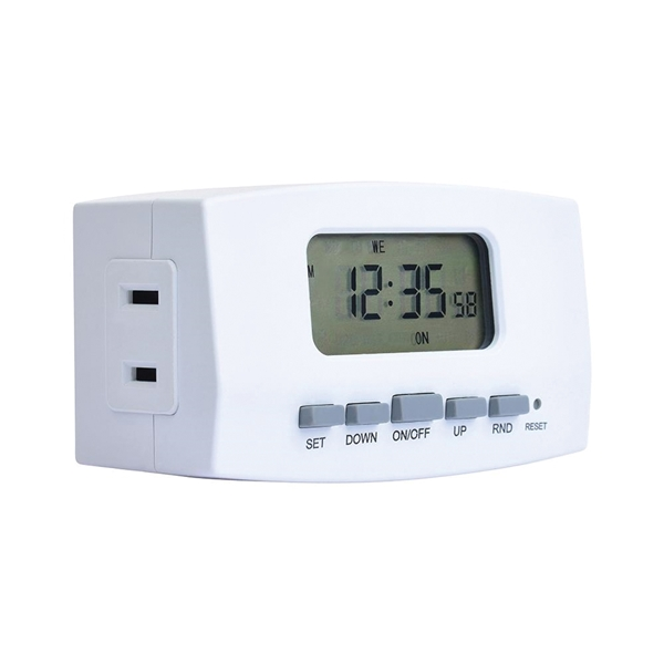 Picture of Amerelle TE402WHB Digital Timer, 8 A, 2 to 30 min Cycles, 24 hr Time Setting, White