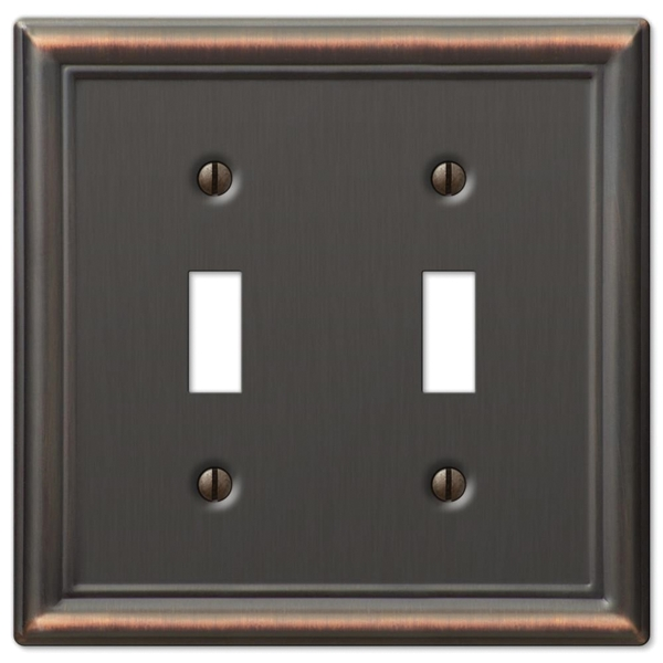 Picture of Amerelle Chelsea 149TTDB Wallplate, 4-7/8 in L, 4-15/16 in W, 2-Gang, Steel, Aged Bronze