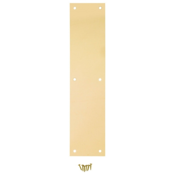 Picture of National Hardware N270-500 Push Plate, Brass, Steel, 15 in L, 3-1/2 in W
