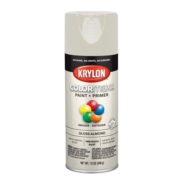 Picture of Krylon COLORmaxx K05500007 Spray Paint, Gloss, Almond, 12 oz, Aerosol Can