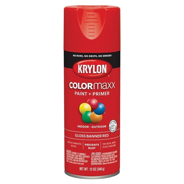 Picture of Krylon COLORmaxx K05503007 Spray Paint, Gloss, Red, 12 oz, Aerosol Can