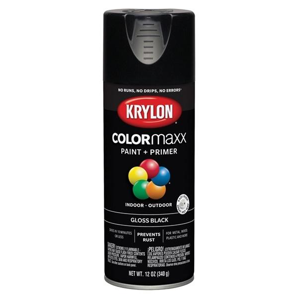 Picture of Krylon COLORmaxx K05505007 Spray Paint, Gloss, Black, 12 oz, Aerosol Can