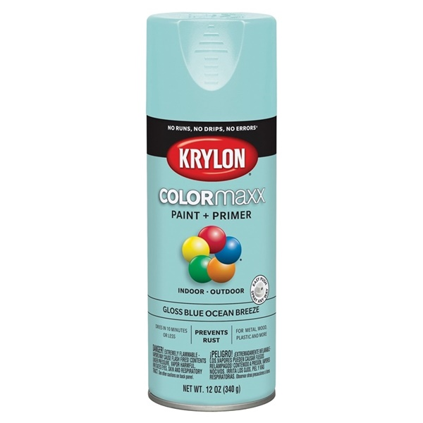 Picture of Krylon COLORmaxx K05506007 Spray Paint, Gloss, Blue, 12 oz, Aerosol Can
