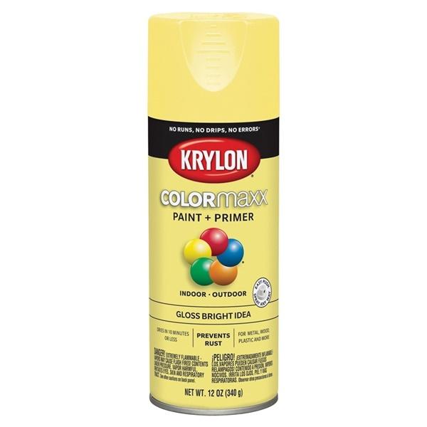 Picture of Krylon COLORmaxx K05507007 Spray Paint, Gloss, Bright Idea, 12 oz, Aerosol Can