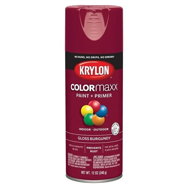Picture of Krylon COLORmaxx K05508007 Spray Paint, Gloss, Burgundy, 12 oz, Aerosol Can