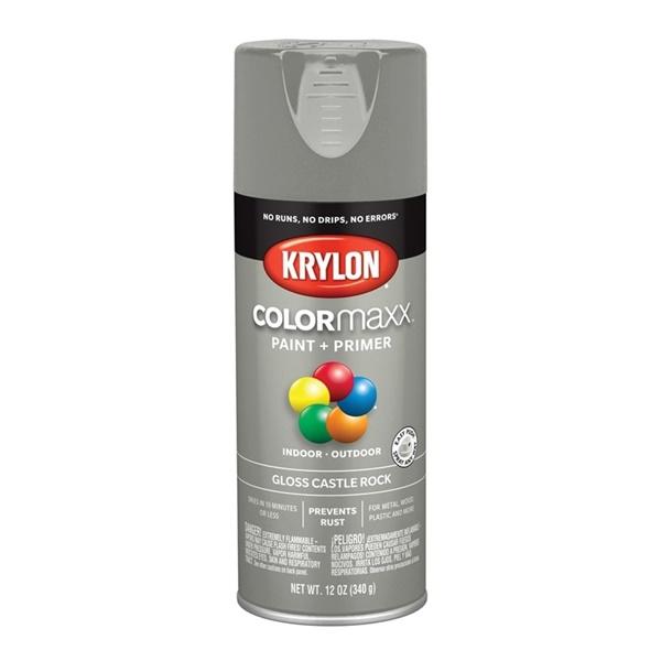 Picture of Krylon COLORmaxx K05509007 Spray Paint, Gloss, Castle Rock, 12 oz, Aerosol Can