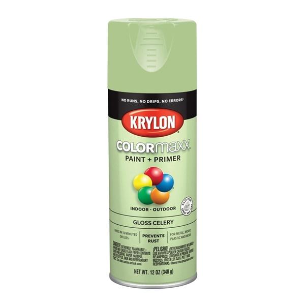 Picture of Krylon COLORmaxx K05510007 Spray Paint, Gloss, Celery, 12 oz, Aerosol Can