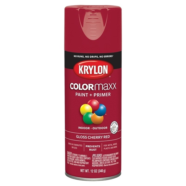 Picture of Krylon COLORmaxx K05511007 Spray Paint, Gloss, Cherry Red, 12 oz, Aerosol Can