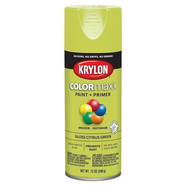 Picture of Krylon COLORmaxx K05512007 Spray Paint, Gloss, Citrus Green, 12 oz, Aerosol Can