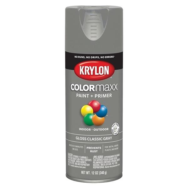 Picture of Krylon COLORmaxx K05513007 Spray Paint, Gloss, Classic Gray, 12 oz, Aerosol Can