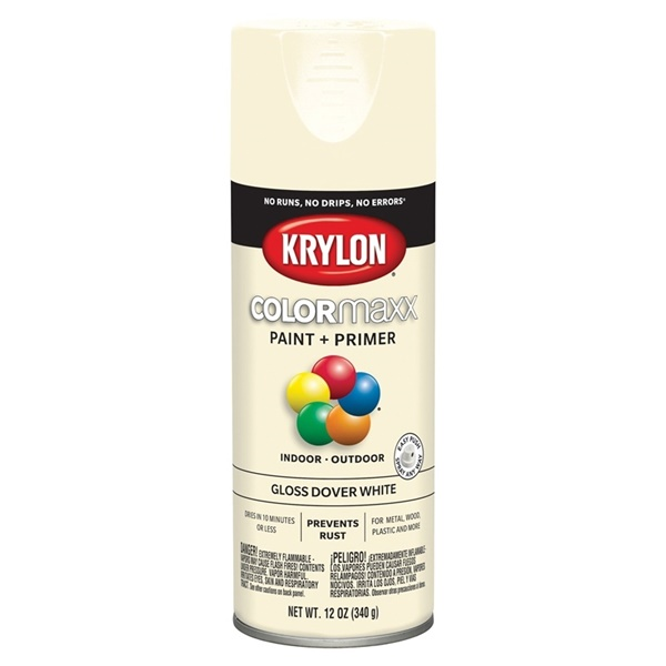 Picture of Krylon COLORmaxx K05516007 Spray Paint, Gloss, Dover White, 12 oz, Aerosol Can