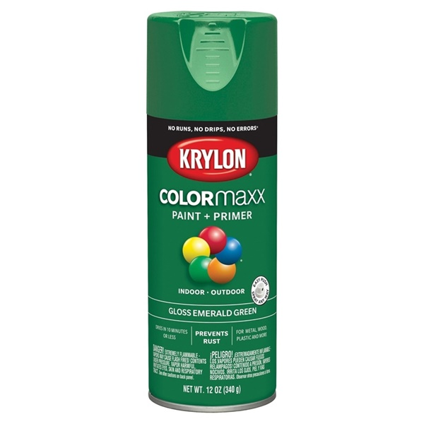 Picture of Krylon COLORmaxx K05517007 Spray Paint, Gloss, Emerald Green, 12 oz, Aerosol Can