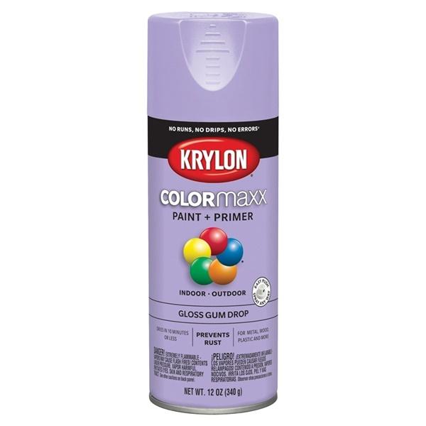 Picture of Krylon COLORmaxx K05521007 Spray Paint, Gloss, Gum Drop, 12 oz, Aerosol Can