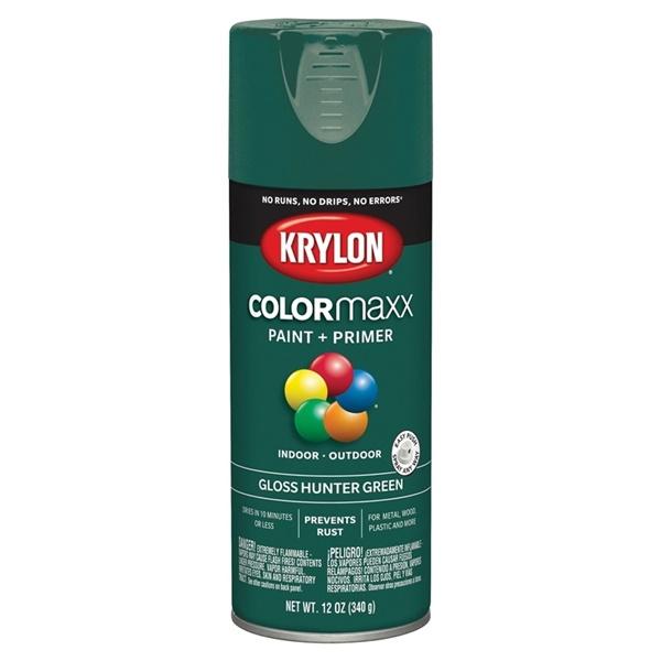 Picture of Krylon COLORmaxx K05523007 Spray Paint, Gloss, Hunter Green, 12 oz, Aerosol Can