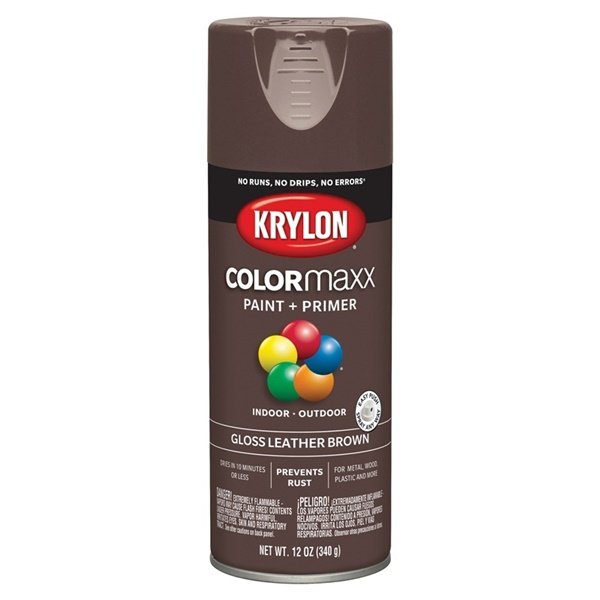 Picture of Krylon COLORmaxx K05527007 Spray Paint, Gloss, Brown, 12 oz, Aerosol Can