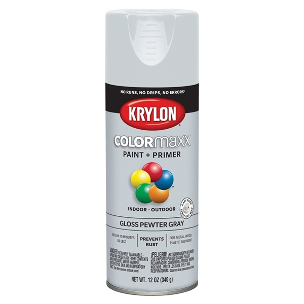 Picture of Krylon COLORmaxx K05531007 Spray Paint, Gloss, Gray, 12 oz, Aerosol Can
