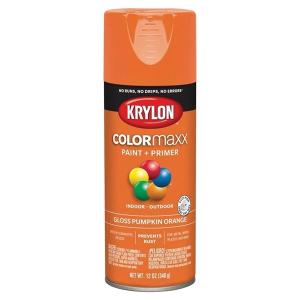 Picture of Krylon COLORmaxx K05532007 Spray Paint, Gloss, Pumpkin Orange, 12 oz, Aerosol Can