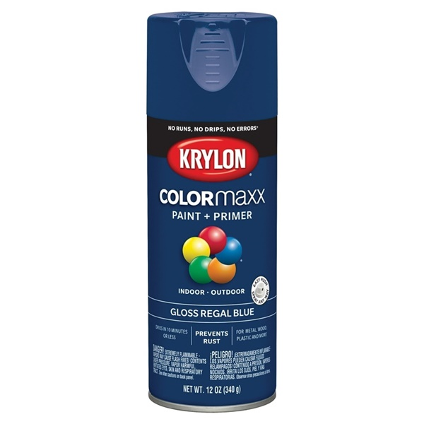 Picture of Krylon COLORmaxx K05535007 Spray Paint, Gloss, Regal Blue, 12 oz, Aerosol Can