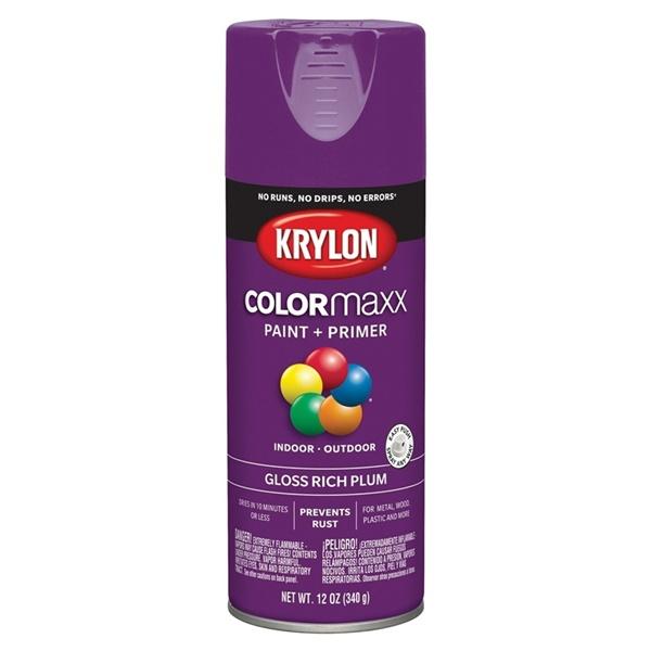Picture of Krylon COLORmaxx K05536007 Spray Paint, Gloss, Plum, 12 oz, Aerosol Can