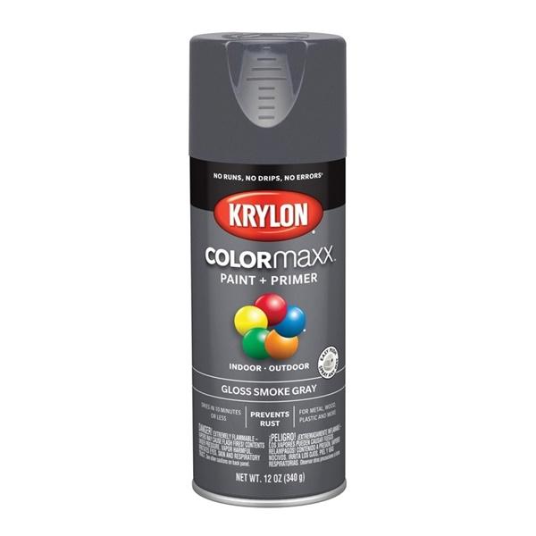 Picture of Krylon COLORmaxx K05539007 Spray Paint, Gloss, Smoke Gray, 12 oz, Aerosol Can