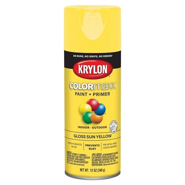 Picture of Krylon COLORmaxx K05541007 Spray Paint, Gloss, Sun Yellow, 12 oz, Aerosol Can