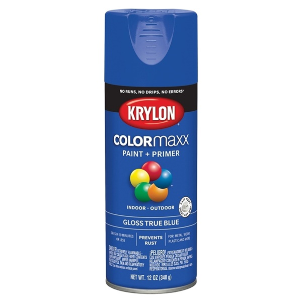 Picture of Krylon COLORmaxx K05543007 Spray Paint, Gloss, True Blue, 12 oz, Aerosol Can