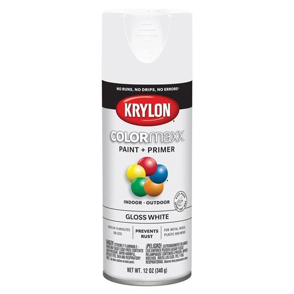 Picture of Krylon COLORmaxx K05545007 Spray Paint, Gloss, White, 12 oz, Aerosol Can