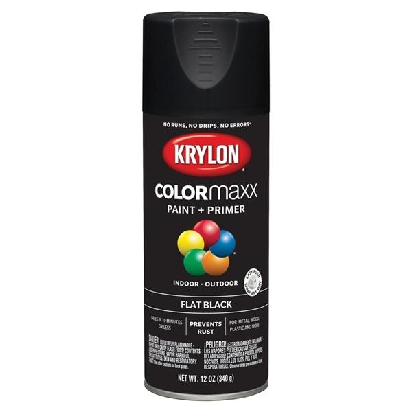 Picture of Krylon COLORmaxx K05546007 Spray Paint, Flat, Black, 12 oz, Aerosol Can