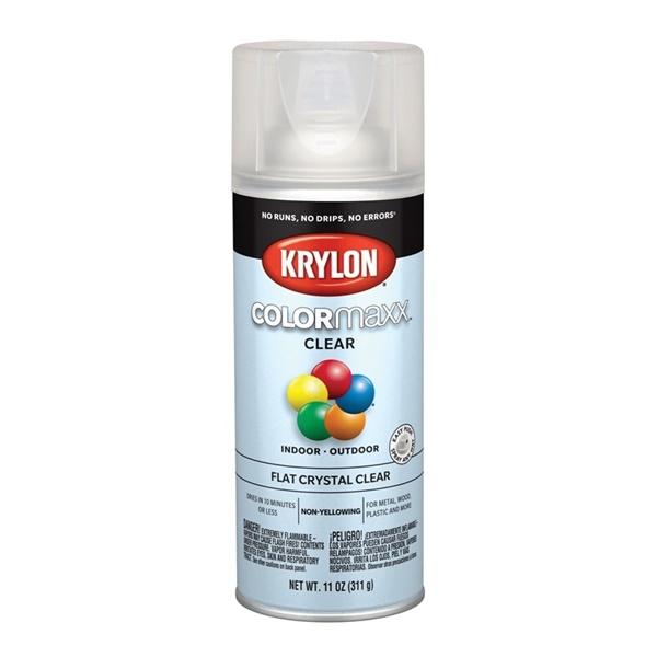 Picture of Krylon COLORmaxx K05547007 Spray Paint, Flat, Clear, 11 oz, Aerosol Can