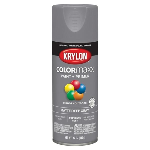 Picture of Krylon COLORmaxx K05550007 Spray Paint, Matte, Deep Gray, 12 oz, Aerosol Can