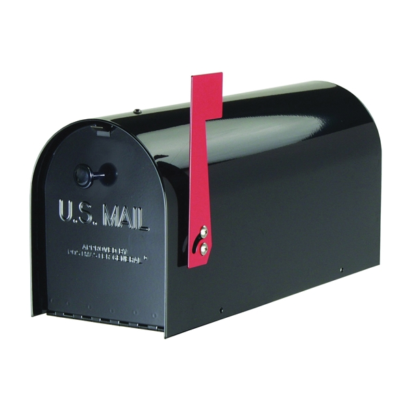 Picture of Gibraltar Mailboxes Tuffbody TB1B0000 Mailbox, Steel, Powder-Coated, 7-3/4 in W, 20-1/2 in D, 9-3/4 in H, Black