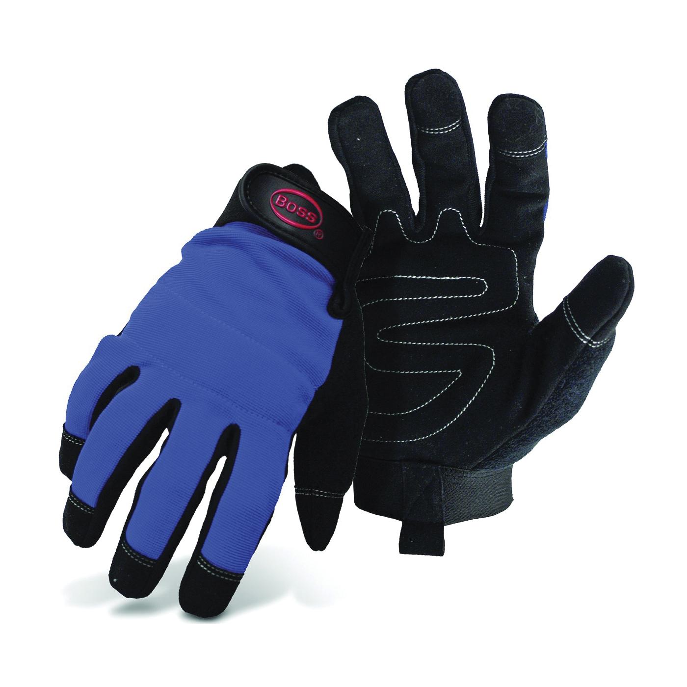 Picture of BOSS 5205L Mechanic's Gloves, Men's, L, Reinforced Thumb, Wrist Strap Cuff, Blue