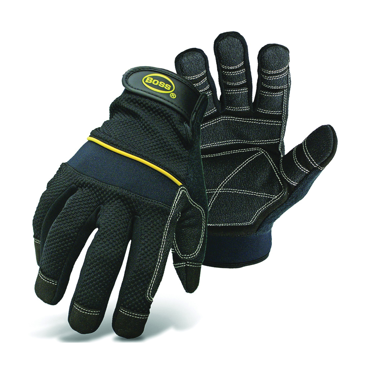 Picture of BOSS 5202L Multi-Purpose Utility Gloves, L, Wing Thumb, Wrist Strap Cuff, PVC/Synthetic Leather