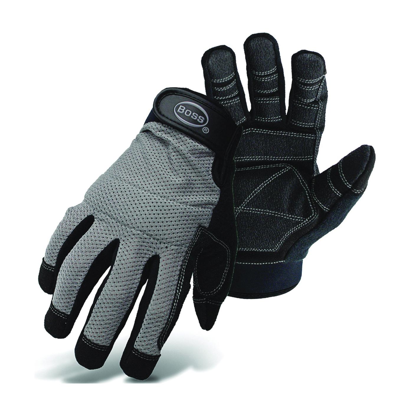 Picture of BOSS 5204L Utility Mechanic's Gloves, L, Wing Thumb, Wrist Strap Cuff, PVC, Black/Gray