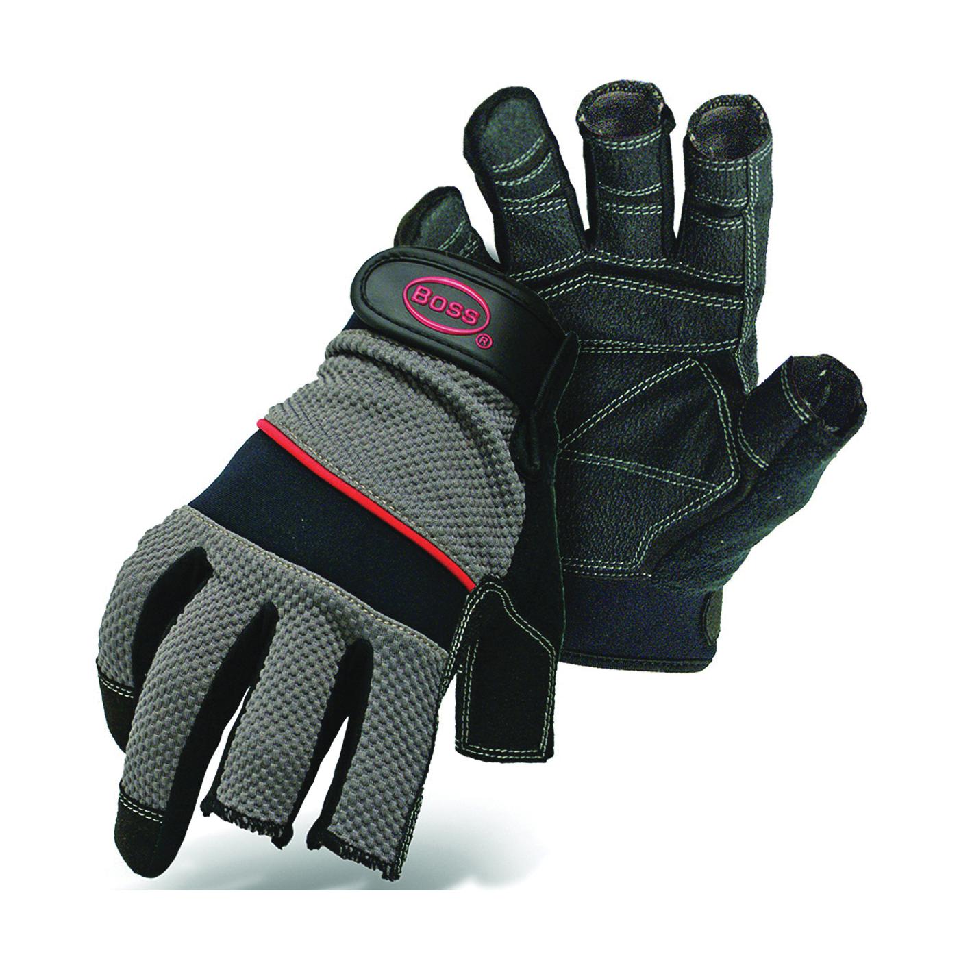 Picture of BOSS 5201L Breathable Carpenter Gloves, L, Shortened Thumb, Wrist Strap Cuff, PVC