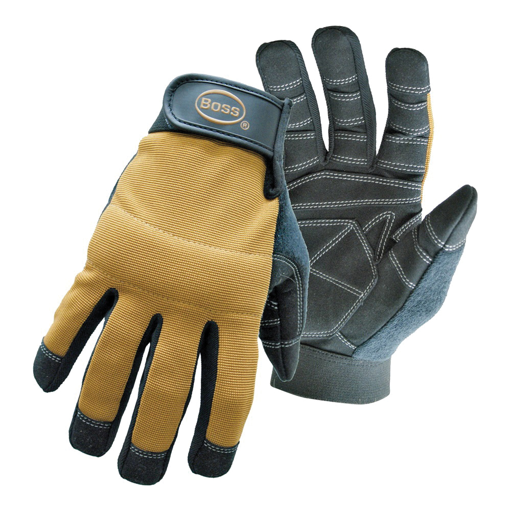 Picture of BOSS 5206M Multi-Purpose Utility Mechanic's Gloves, M, Sweat Wipe Thumb, Hook-and-Loop Cuff