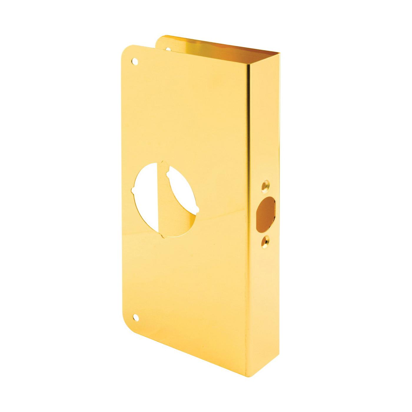 Picture of Defender Security U 9547 Door Reinforcer, 2-3/8 in Backset, 1-3/8 in Thick Door, Solid Brass, Brass, 9 in H