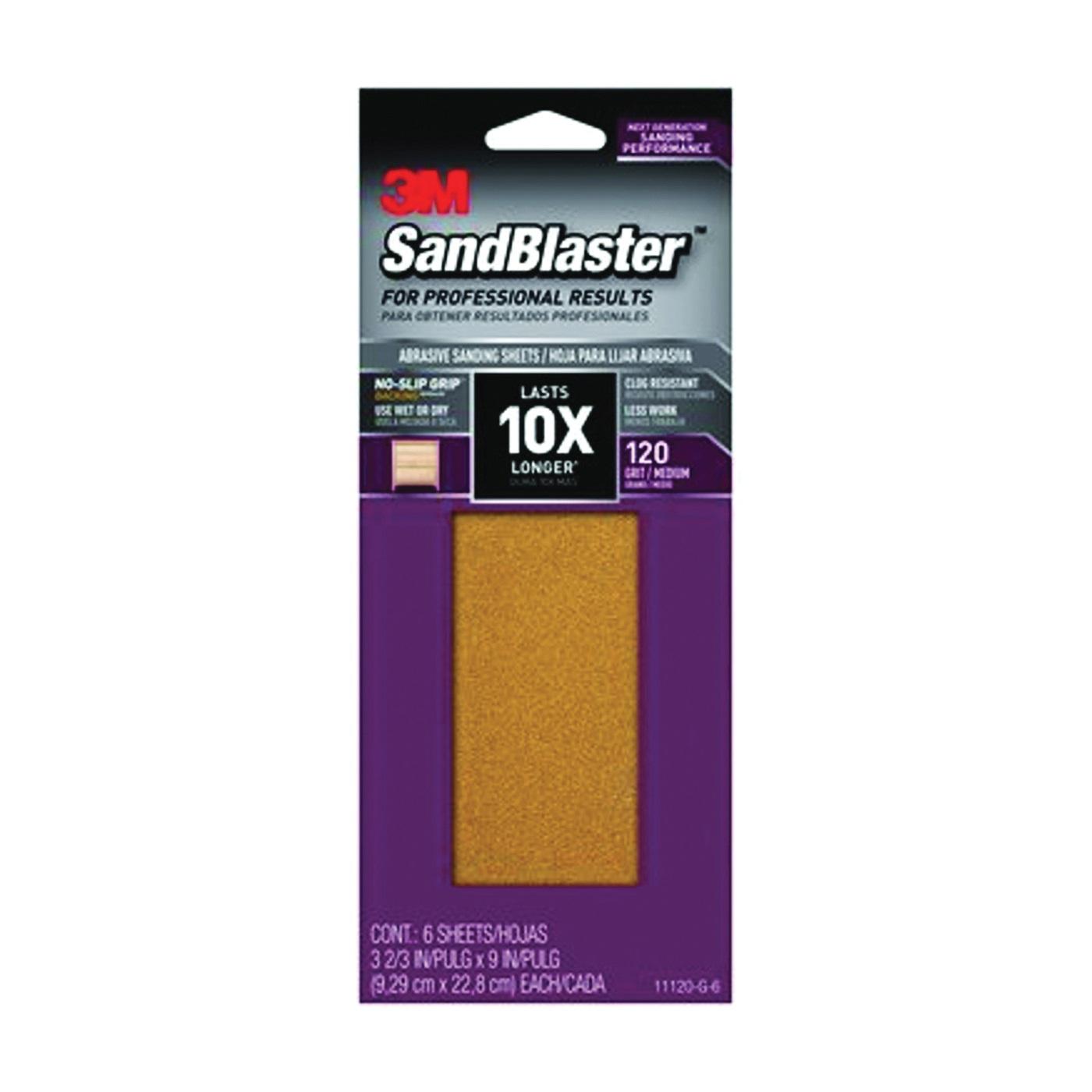 Picture of 3M SandBlaster 11120-G-6 Sandpaper, 9 in L, 3-2/3 in W, 120 Grit, Medium, Aluminum Oxide Abrasive